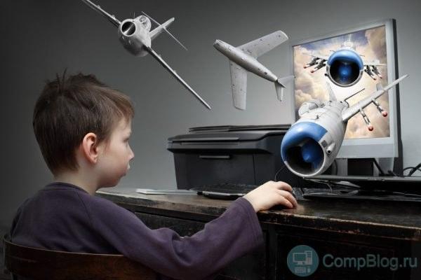 Счастливый мальчик играет в игры. Концепт виртуальной реальности